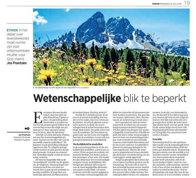 Wetenschappelijke blik te beperkt artikel door Jos Frantzen in Trouw